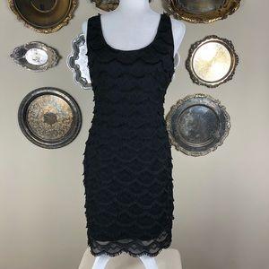 GUESS | Black Fringe Flapper Dress Midi Sheath 8